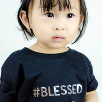 """""""#Blessed"""" Baby Onesuit, Black"""