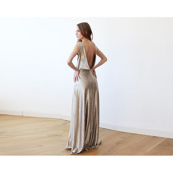 Sleeveless Gold Open-Back Maxi Dress 1127