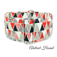 Geometric Red Dog Collar, Wide martingale collar, made in Canada, great dane, whippet, greyhound, lurcher collar, 2 inch 1 inch 1.5 inch