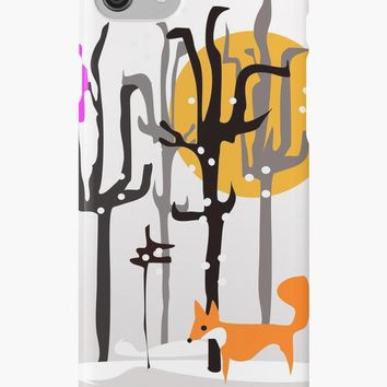 'Lone Fox and Pink Bird' iPhone Case/Skin by mirimo