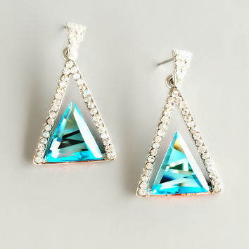 Triangle Aqua Crystal Earrings