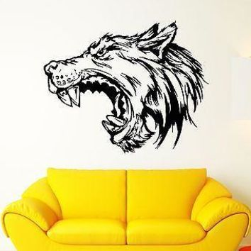 Wall Decal Wolf Growl Angry Dog Fangs Teeth Mouth Beast Vinyl Stickers Unique Gift (ed287)