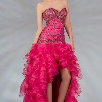 PRIMA C138112 Pink or Blue High Low Prom Dress