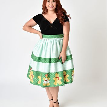 Unique Vintage Plus Size 1950s Style Gingerbread Darlings High Waist Cotton Swing Skirt