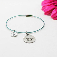 Mermaid Soul Bracelet - Best Friends Bangle - Initial Charm - Mermaid Charm Bracelet - Initial Bracelet - Personalize Gift - Custom Bracelet