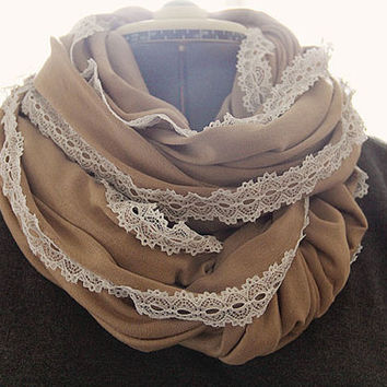 Camel and Lace lined Cozy Infinity Scarf, Loop Scarf, Light, Summer Scarf, SOFT