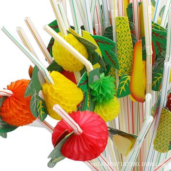 50 Pcs 3D Fruit Cocktail Drinking Straw Assorted Party BBQ Hawaiian Theme