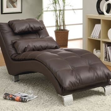 A.M.B. Furniture & Design :: Living room furniture :: Sofas and Sets :: Chaise loungers :: Dark brown leather like vinyl upholstered tufted design chaise lounger with chrome legs