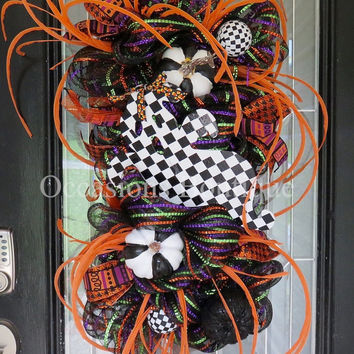 Halloween Wreath, Halloween decoration, door swag, wreath for door, Front door wreaths, Fall Wreath, Wreath for Halloween, RAZ