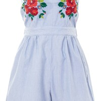 **Bandeau Embroidered Playsuit by Glamorous Tall | Topshop