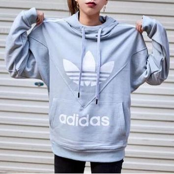 Adidas Newest Fashionable Women Men Casual Print Long Sleeve Sweater Pullover Top Blue