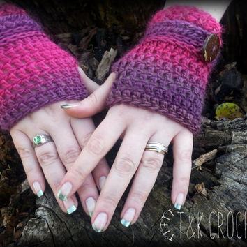 Crochet Fingerless Gloves, Wrist Warmers, Pink & Purple Fingerless Mittens, Steampunk Fingerless Mitts
