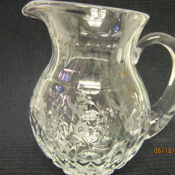 Lead Crystal Pitcher, Anchor Hocking, Etching