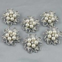 WHOLESALE 6PCS GLASS RHINESTONE CRYSTAL IVORY PEARL BROOCH PIN FASHION JEWELRY