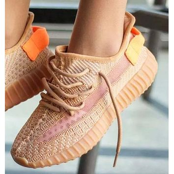 Adidas Yeezy Boost 350v2 Fashion New Women Men Sports Leisure Running Shoes Orange&Khaki