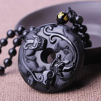 Natural Black Obsidian Stone Pendant Carved Circle Pixiu Chinese dragon pendant necklace Men Jewelry