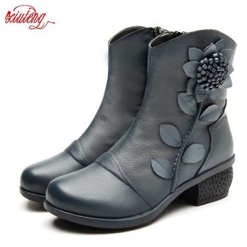 Women Boots Shoes Woman Handmade Vintage Genuine Leather Low-Heeled Shoe Round Toe Hig