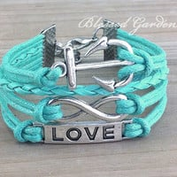 bracelet, anchor bracelet, infinity bracelet,mint green bracelet, mint green, anchor , love bracelet, bridesmaid, girlfriend gift