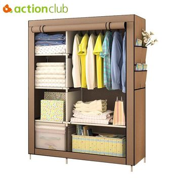 Actionclub When The Quarter Wardrobe DIY Non-woven Fold Portable Storage Cabinet Multifunction Dustproof Moistureproof Closet