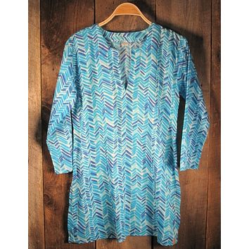 Cotton Tunic Top of Modern Print in Turquoise