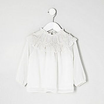 Mini girls white Victorian top