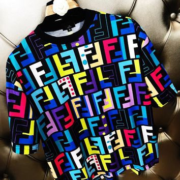 FENDI Newest Fashionable Women Casual Print Short Sleeve Round Collar T-Shirt Top