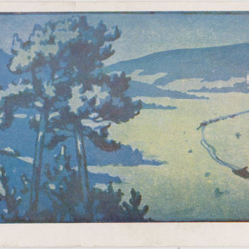 "D. Falileyev ""Winter Night"" Print, Postcard -- 1964. Condition 7/10"