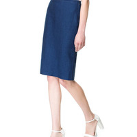 PENCIL SKIRT WITH TOP STITCHING
