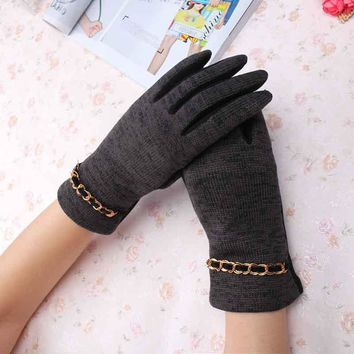C Beauty Lady Wool Knitted Gloves New Design Chain Pattern Full Fingers Gloves Mittens Women Winter Fashion Warm guantes