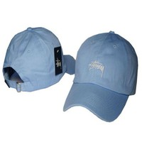 Sky Blue Stussy Embroidered Baseball Cap Hat