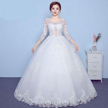 Backless Embroidery wedding dress Lace Three Quarter Sleeve