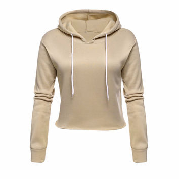 Spring Autumn Long Sleeve Cropped Women Hoody Suit Sweatshirt Tracksuit Sportswear Female Hood Polerone Clothes Sweat femme 2016