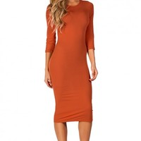 Margo Orange Spice 34 Sleeve Jersey Bodycon Midi Dress