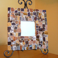 Broken China Brown Mosaic Mirror- Pique Assiette Mosaic Mirror