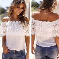 Chiffon Off Shoulder Lace Neckline Casual Party Wear Holiday Short Sleeve Top T-shirt b2232