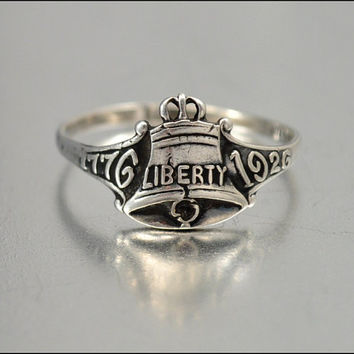 Art Deco Ring Sterling Silver Liberty Bell Historical Vintage 1920s Art Deco Jewelry 150 Year Commemorative