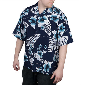 Navy Hibiscus Hawaiin Shirt