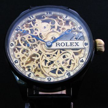 # ROLEX SKELETON Antique 1940's Men's Large Wristwatch
