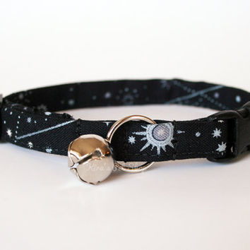 Galaxy Cat Collar, Breakaway Cat Collar, Handmade Cat Collar, Celestial Cat Accessories, Pet Accessories, Fabric Cat Collar, Black & Silver