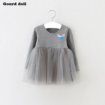 Gourd doll Baby Girls Dress Big butterfl Infant Party Dress For Toddler Girl First Brithday Baptism Clothes Double Formal Dress