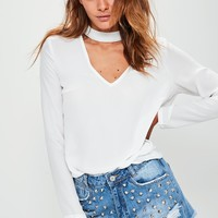 Missguided - Choker Plunge Cut Out Blouse White