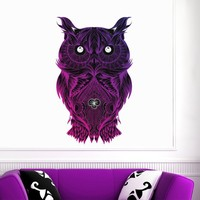 MADE IN THE USA - New Wall Decal Colorful Multicolored Owl Bird Full Color Sticker Yoga Tattoo Tribal Home Decor Art Mural DD123