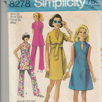 Simplicity Pattern 8278 Misses Jiffy Dress or Tunic and Pants Miss Size 10 Hippy Vintage 1969 Hippie Fashion Sewing Pattern