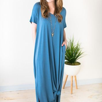 Pop of Color Maxi Dress with Pockets - Blue