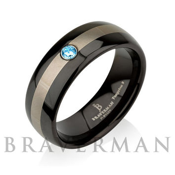 Mens Wedding Bands, Aquamarine Band, Black Wedding Band, Black Tungsten, Genuine Aquamarine Ring, March Birthstone Comfort Fit