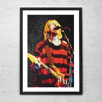 Kurt Cobain, Illustration - Wall Art Poster - Fine Art Print for Interior Decoration
