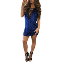 Casual Dresses for Woman Sexy Bandage Deep V Neck Casual Short Sleeve Lace Up Velvet Blue White Dress #LSN