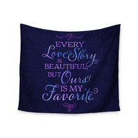 "Noonday Design ""Every Love Story Is Beautiful"" Blue Purple Wall Tapestry"