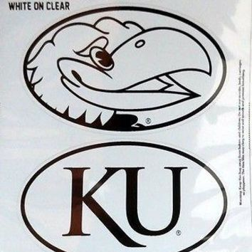 Kansas Jayhawks 2-Pack EURO STYLE Oval Home Auto Decals Sticker University of