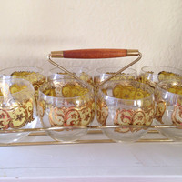 Gold Leaf Roly Poly Glasses with Metal and Teak Caddy Holder Carrier Space Age Atomic Set of Mid Century Modern Barware